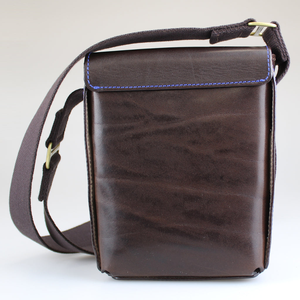 Back view Dark-brown-English-bridal-leather-with-brushed-brass-turnlock Made by Sam Brown London Wiltshire UK