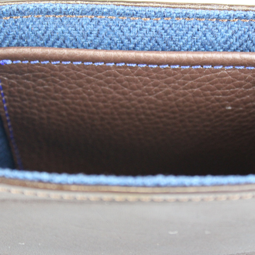 Lining in blue Irish linen with Dark-brown-English-bridal-leather-pocket  Made by Sam Brown London Wiltshire UK