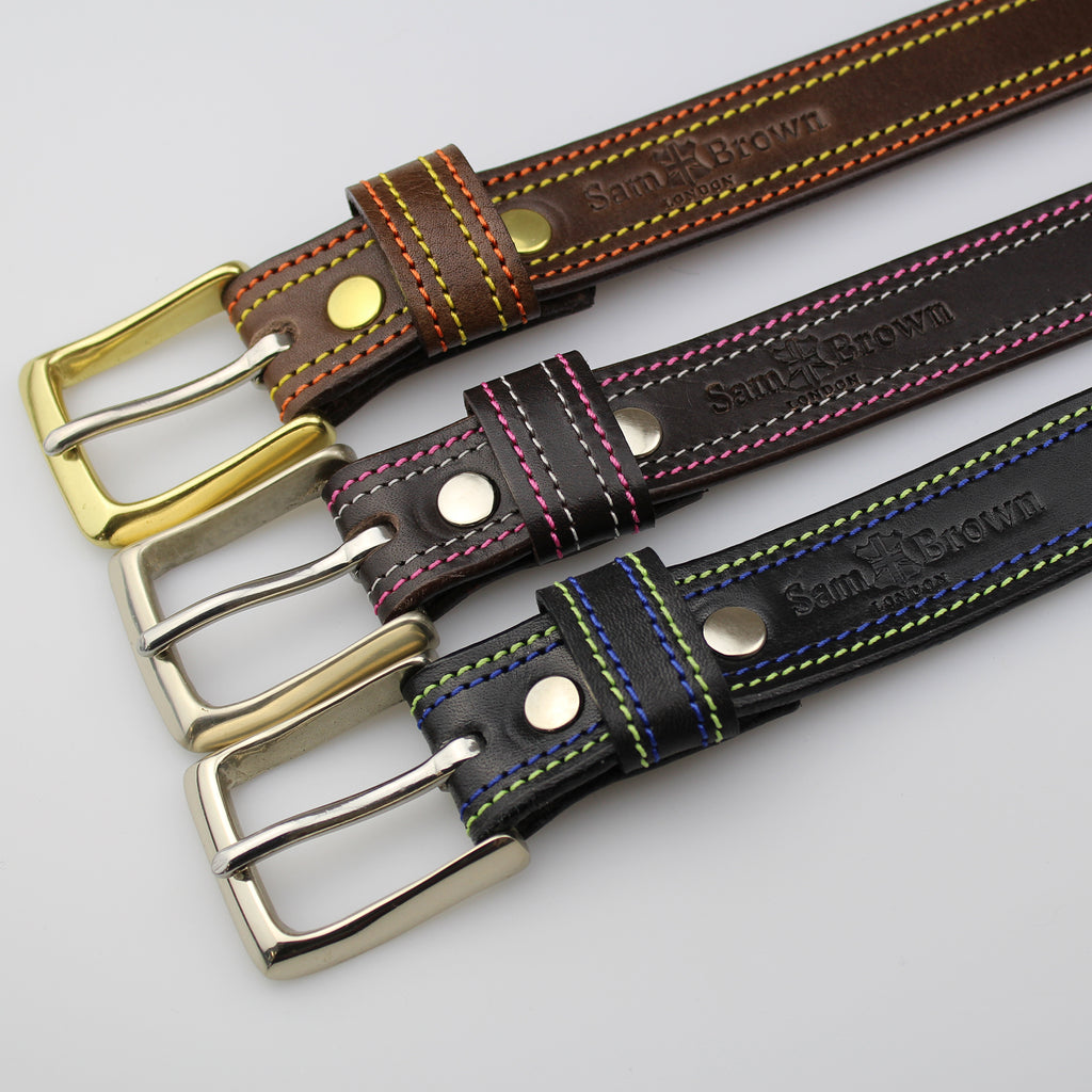 three jean chino belts for men and women with pink-ivory-orange-yellow-green & blue stitching on edges-Made BY Sam Brown London England