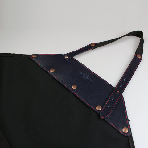 Chef apron Gardening Apron in Blue leather detachable trim & washable 100% cotton made in England Sam Brown London