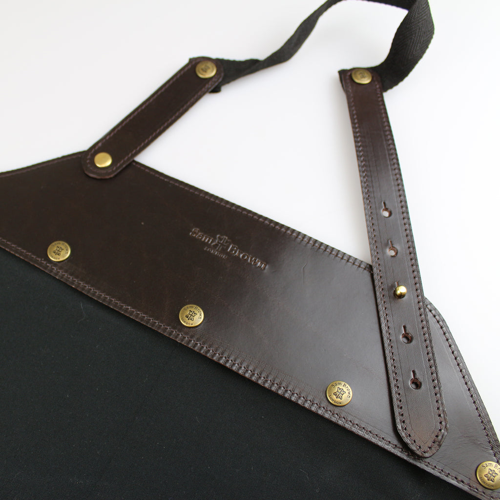 washable Aprons 100% black cotton with brown bridle leather  detachable A bib made in England Sam Brown London