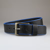 Black English veg tanned full grain leather with blue edge dye & nickel buckle made by hand Sam Brown London
