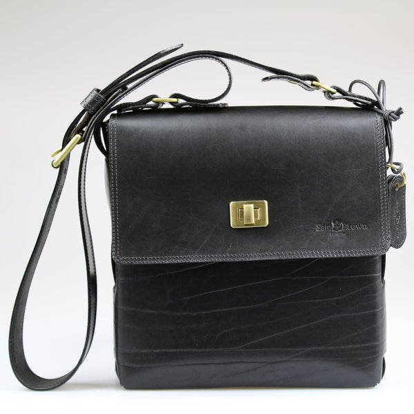 front The Soho Across Body Bag Black English Bridle leather by Sam Brown London Wiltshire UK
