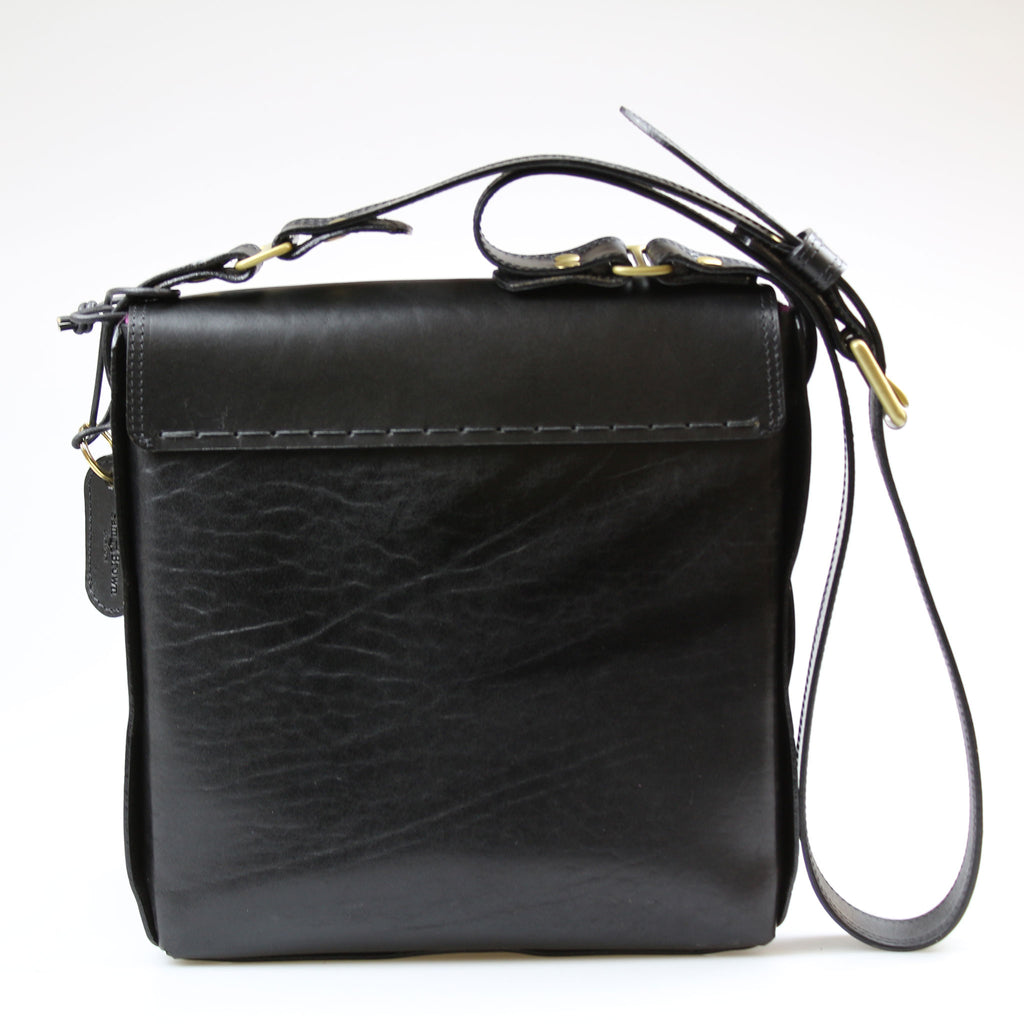 back of The Soho Across Body strap Bag Black English Bridle leather by Sam Brown London Wiltshire UK