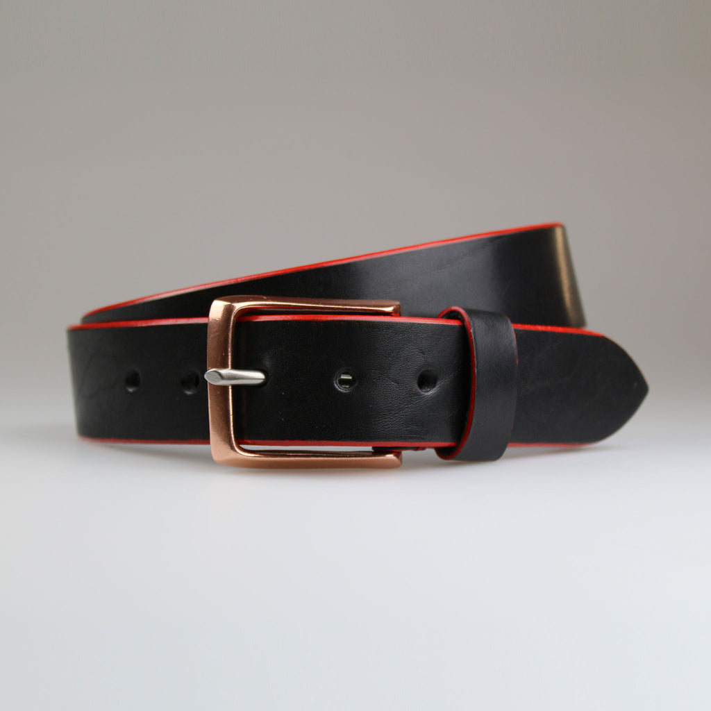 Sam Brown Black leather belt with hand painted red edge made in Britain