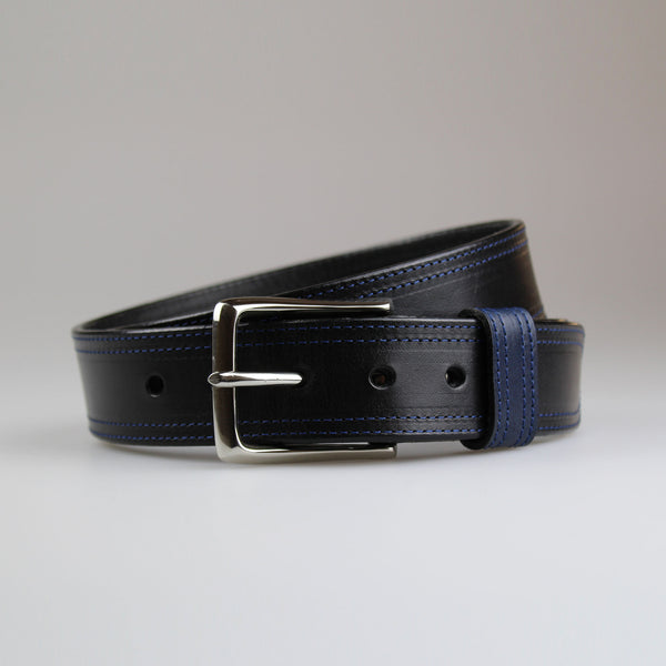 Sam Brown London twin stitched contrast stitching collection Black English bridle leather with blue STAY & thread