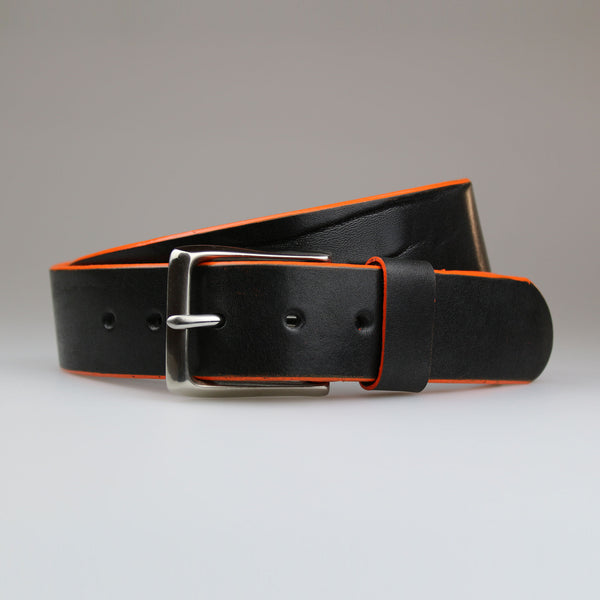 Full grain English black leather with hand painted orange edge & solid nickel buckle made by Sam Brown London