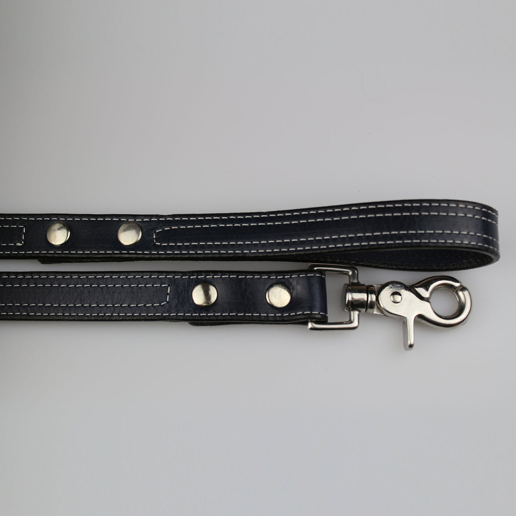dark blue leather with white stitch detail nickel fixings made UK by Sam Brown London