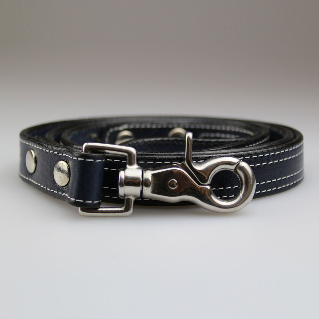 navy blue leather with white stitch detail nickel fixings made UK by Sam Brown London