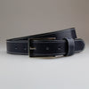 blue business belt is made from solid 2.8m solid British traditionally tanned leather by Sam Brown London