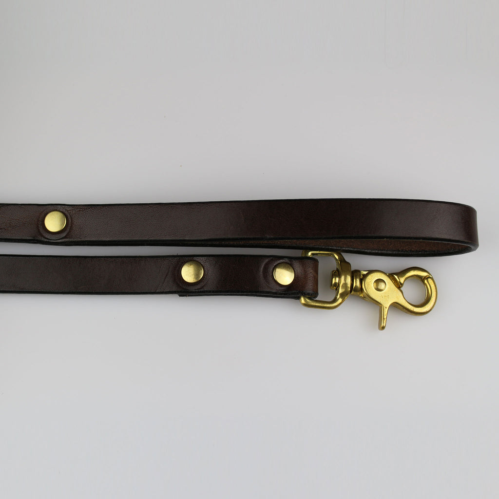 Handle & clip end Leather brown dog lead with brass fixings made in Britain by Sam Brown London