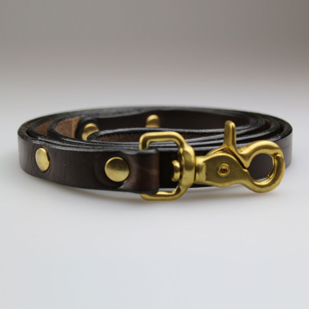 Leather brown dog lead with brass fixings made in Britain by Sam Brown London