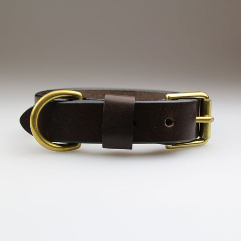 Best selling classic dark brown bridle leather with brass fixings made in Britain by Sam Brown London