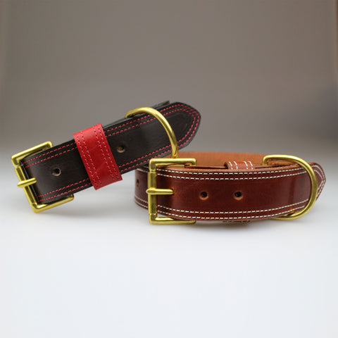 Dog Collars in Black & red or Chestnut tan 40mm English Bridle Leather made in England by Sam Brown London