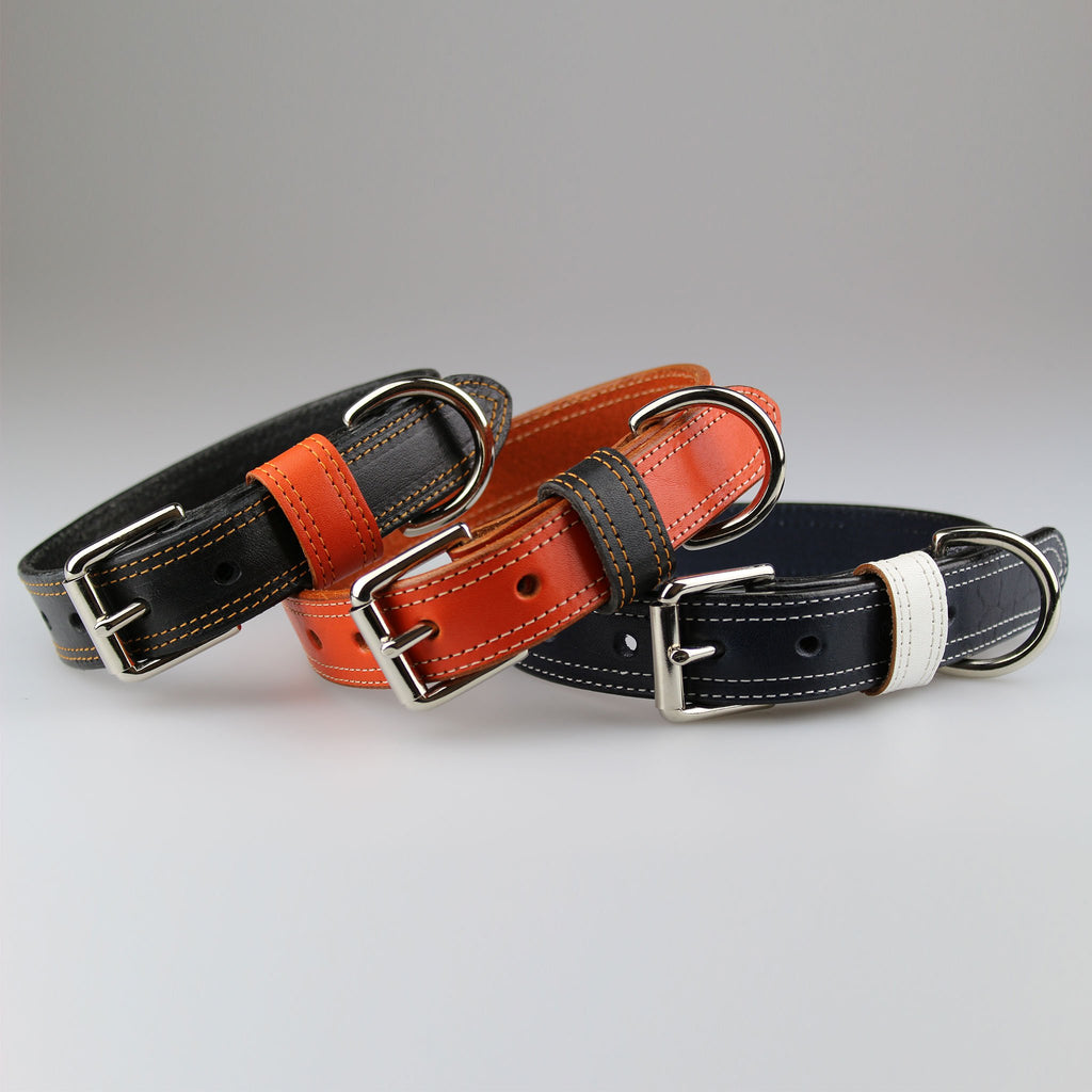 stylish luxury solid leather dog collars in orange or black or blue made in UK