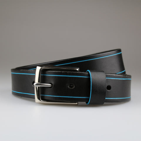 English bridle leather belt in black with hand painted aqua tram lines and nickel buckle Sam Brown London