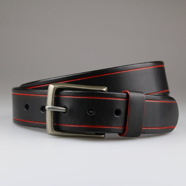 English bridle leather belt in black with hand painted red tram lines and nickel buckle made by Sam Brown London