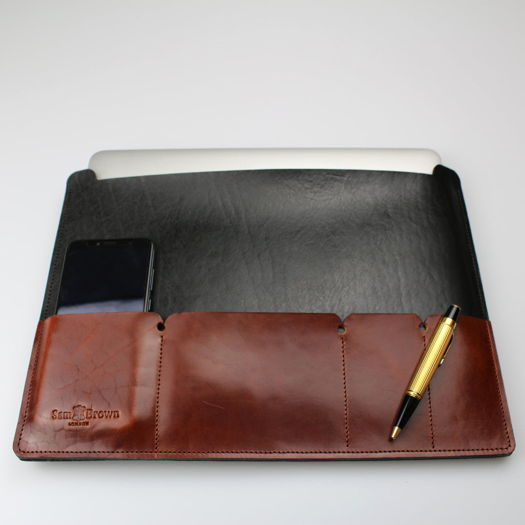 English leather laptop portfolio black & brown made in UK