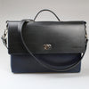Sleek 2 tone blue & black Brief Case made in England with UK veg tanned leather by Sam Brown London