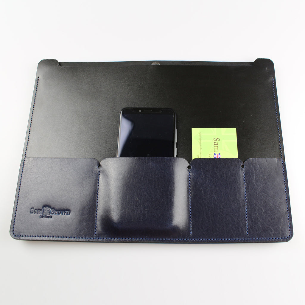 English leather laptop portfolio black & blue made in UK