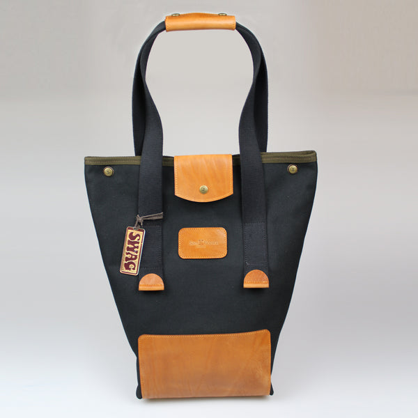Our Tote Swag Bag in black canvas & bridle leather Tan trim Sam Brown London Made in England