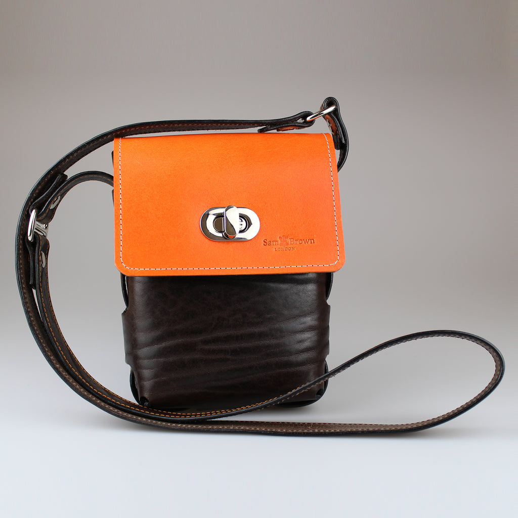 Gamekeeper Across Body Bag Orange & Brown English Bridle leather by Sam Brown London Wiltshire UK