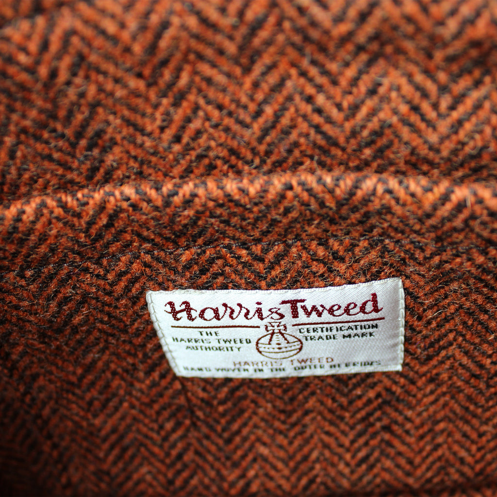 example of Harris Tweed lining orange & chocolate Herringbone Sam Brown London UK