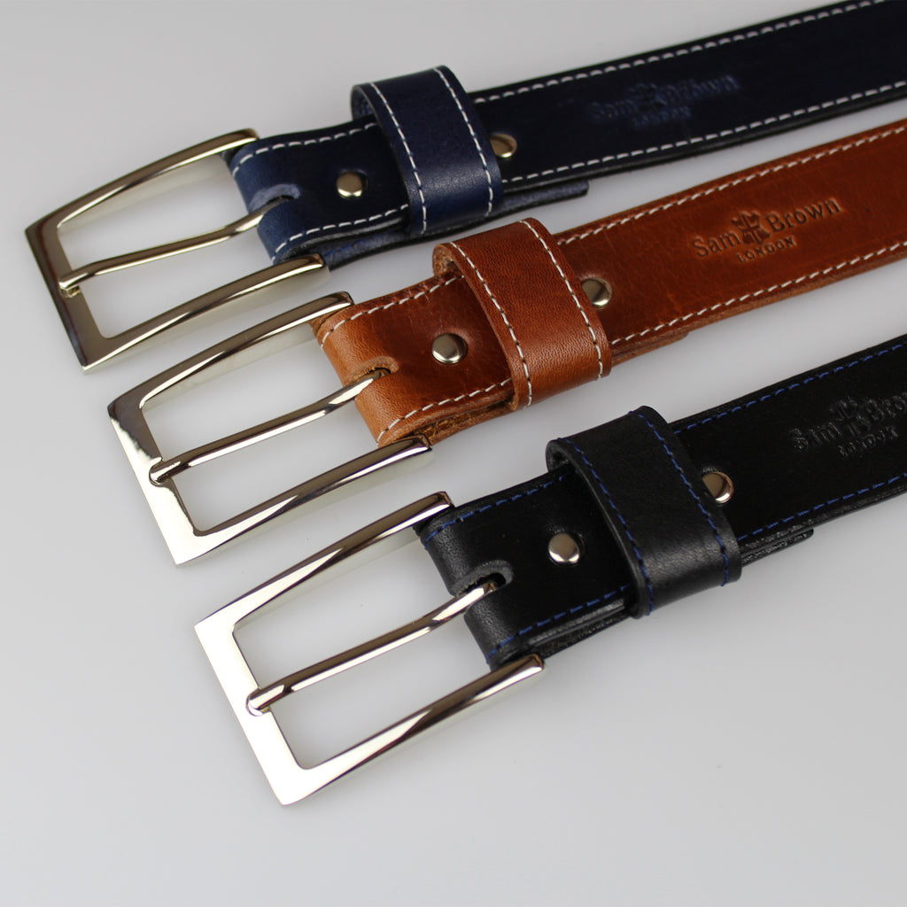 Elegant Nickel buckle on business belt is made from solid 2.8m solid British traditionally tanned leather by Sam Brown London