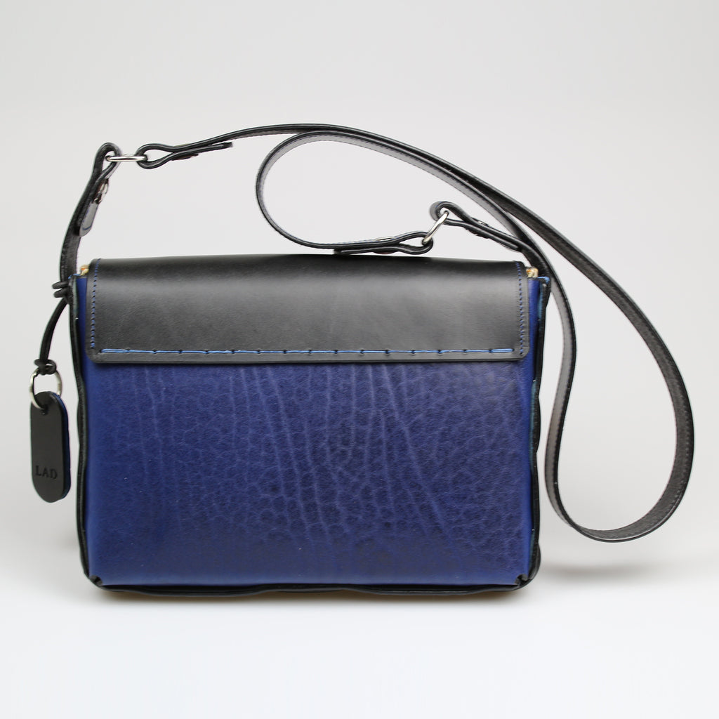 Rear Poacher Bag Blue & black English leather for men & women