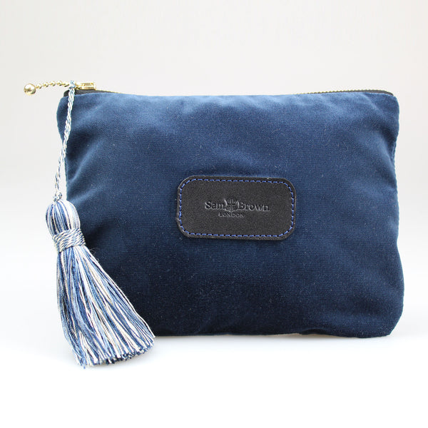 Velvet Evening Bag in Midnight Blue velvet with blue tassel large sizes Sam Brown London