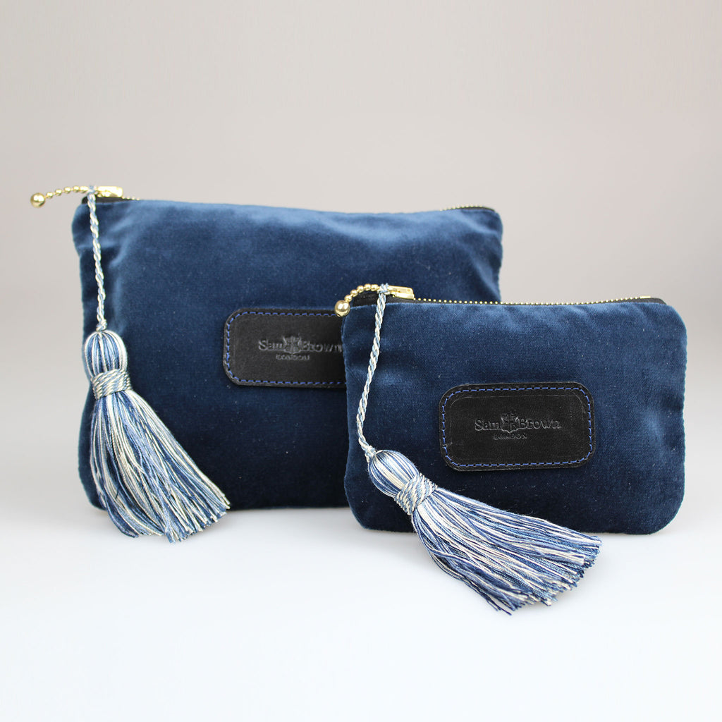 Velvet Evening Bag in Midnight Blue velvet with blue tassel small & large sizes Sam Brown London