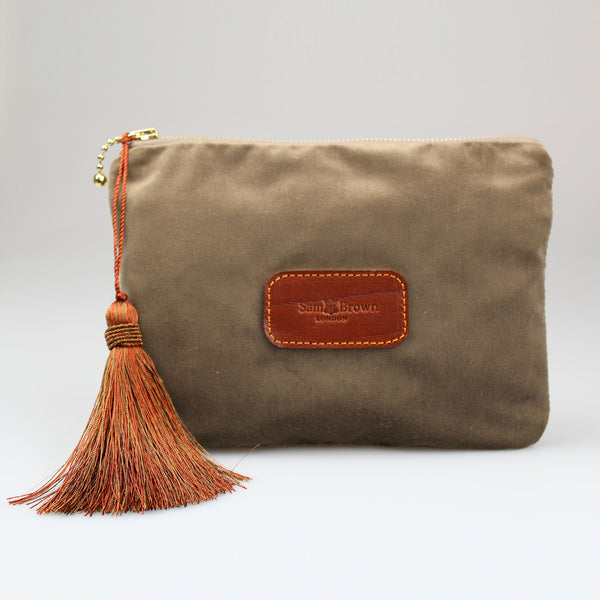 Sam-Brown-London-Velvet-Bags-Mink-Brown with bronze tassel