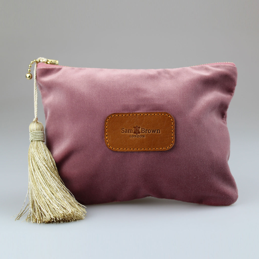 Velvet Evening Bag vintage pink with gold tassel large sizes Sam Brown London
