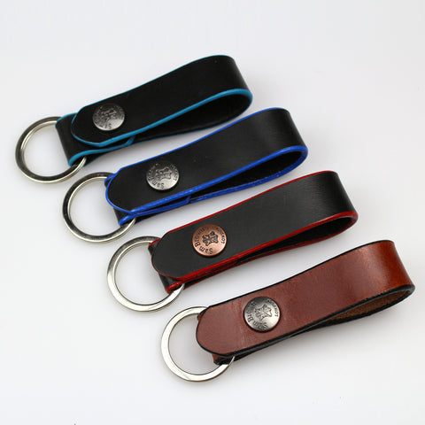 Sam Brown London Handmade leather keyrings key ring made with painted edges