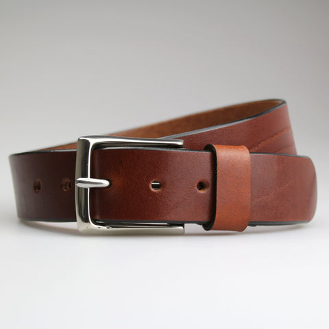 Classic Chestnut Brown Jean Belt with Polished Nickel Buckle