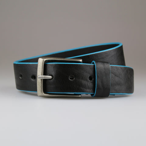 Black with  aqua blue edge dyed belt in sustainable English bridle leather made by hand in Wiltshire UK