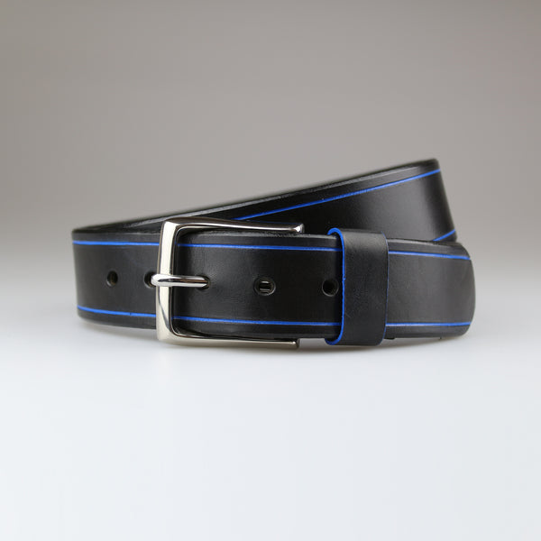 Black with blue Tram Line detail in sustainable English bridle leather made by hand in Wiltshire UK