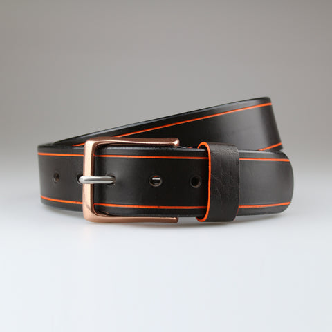 Brown belt with orange Tram Line detail in sustainable English bridle leather made by hand in Wiltshire UK