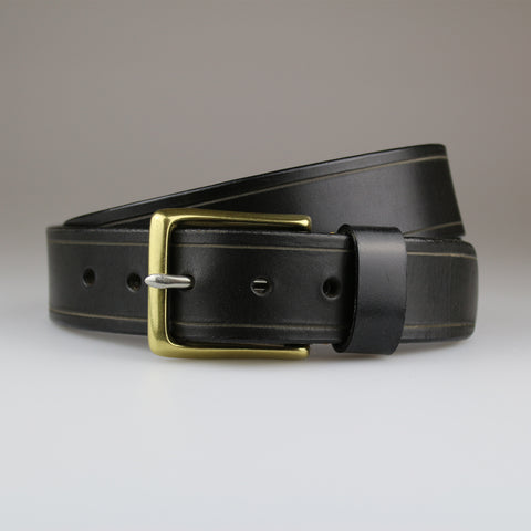 Black with Tram Line details in sustainable English bridle leather made by hand in Wiltshire UK