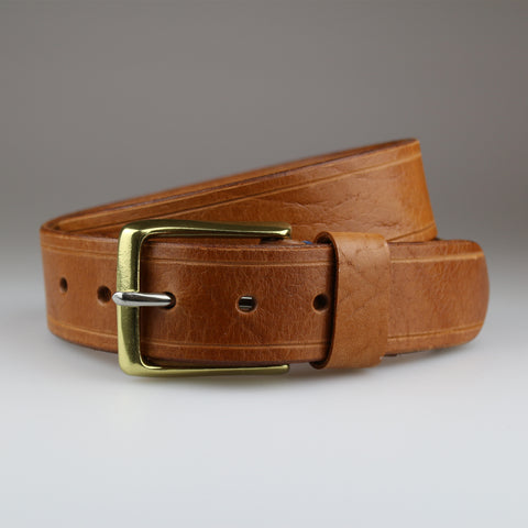 Tan with Tram Line details in sustainable English bridle leather made by hand in Wiltshire UK