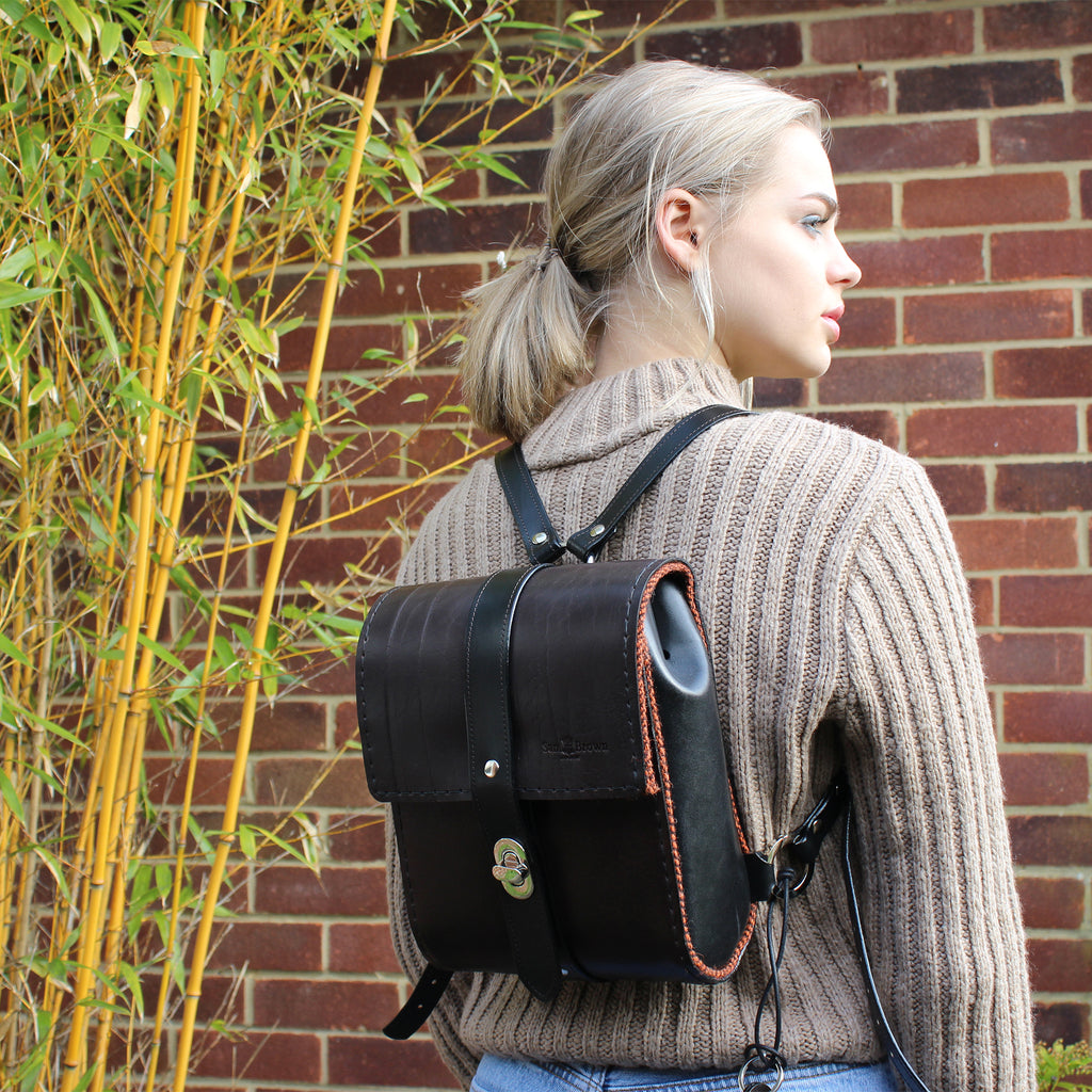 The Malvern Leather Backpack in Brown & Black