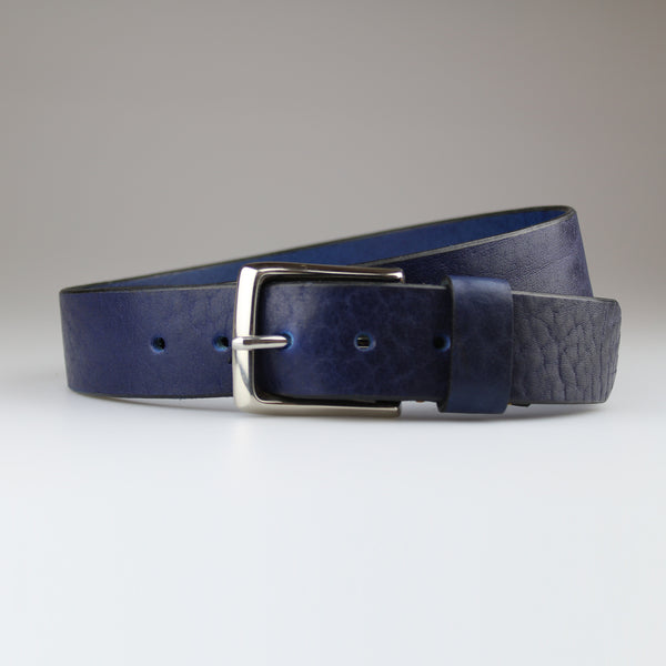 Veg tan Blue jean belt in sustainable English bridle leather made by hand in Wiltshire UK