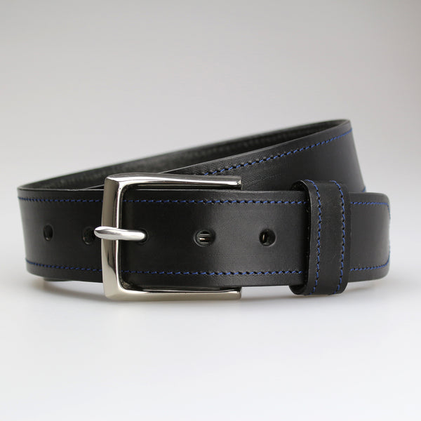 Sam Brown London hand-stitched contrast stitching collection Black English bridle leather blue thread