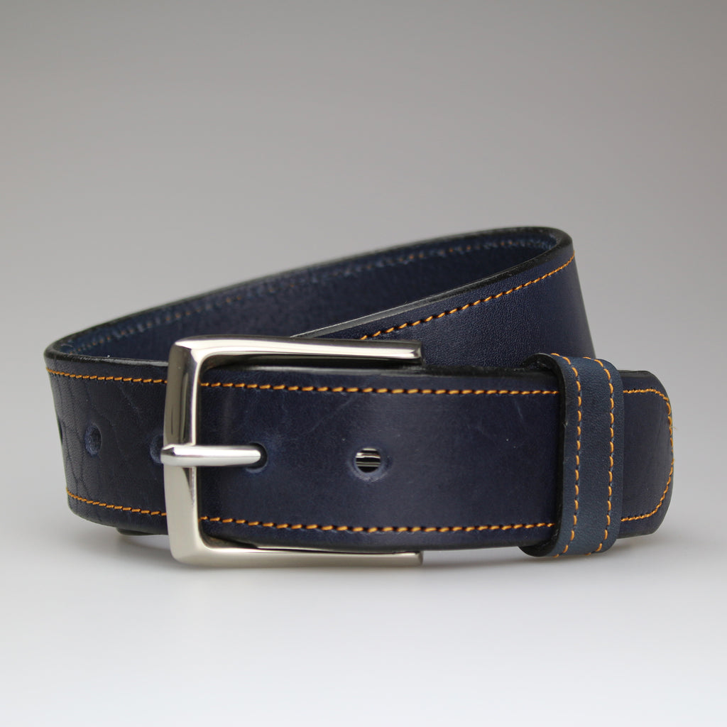 Sam Brown London hand-stitched contrast stitching collection Blue English bridle leather yellow thread