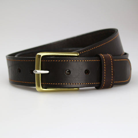Sam Brown London hand-stitched contrast stitching collection Dark Brown English bridle leather yellow  thread