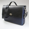 Sleek 2 tone Brief Case  blue & black made in England with UK veg tanned leather by Sam Brown London