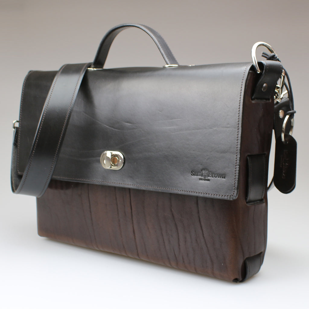 Side Brown & Black The Brief Case with shoulder strap full grain English leather made by hand by Sam Brown London