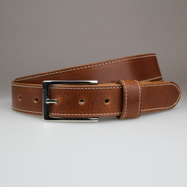 Tan suit belt Elegant Nickel buckle  made from solid 2.8m solid British traditionally tanned leather by Sam Brown London