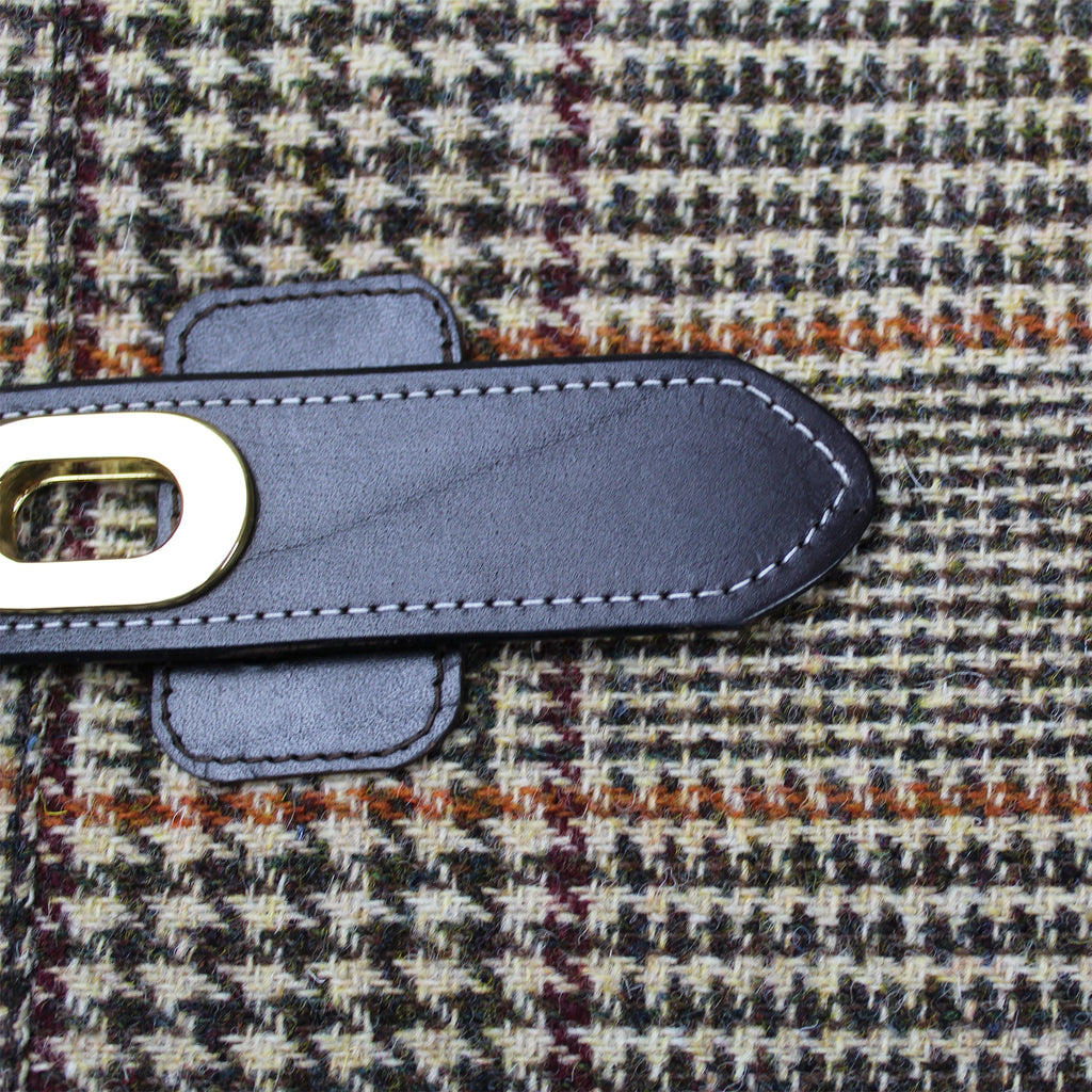 harris tweed bag lining cream & green houndtooth & orange over check