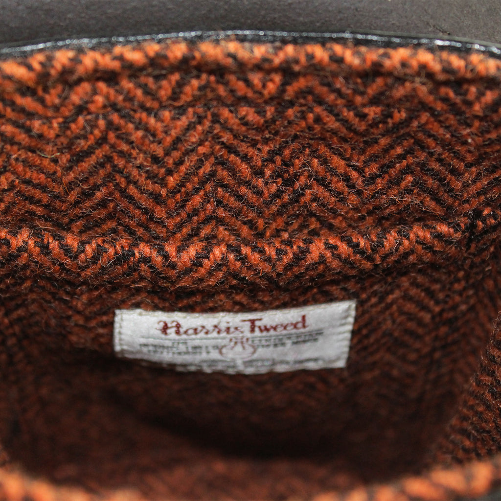 Gamekeeper Across Body Bag Orange & Brown herringbone harris tweed  by Sam Brown London Wiltshire UK